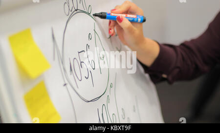 Businessman putting his ideas on white board during a presentation in conference room. Focus in hands with marker - Stock Photo