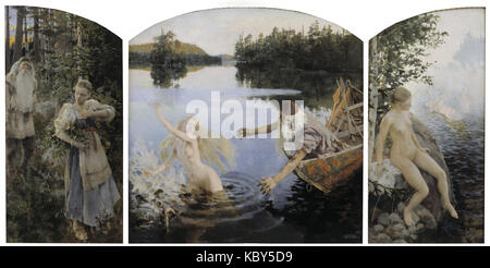 Akseli Gallen Kallela   Aino Myth, Triptych - Stock Photo