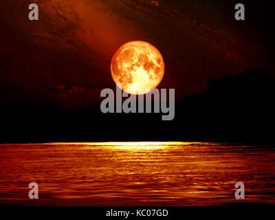 full blood moon sky and moonlight on river, Elements of this image furnished by NASA - Stock Photo