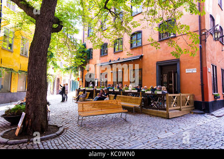 The small public square, Brända Tomten, in Gamla Stan, Stockholm, Sweden - Stock Photo