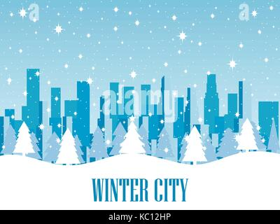 Winter city. Snow-covered metropolis with skyscrapers. Vector illustration. - Stock Photo
