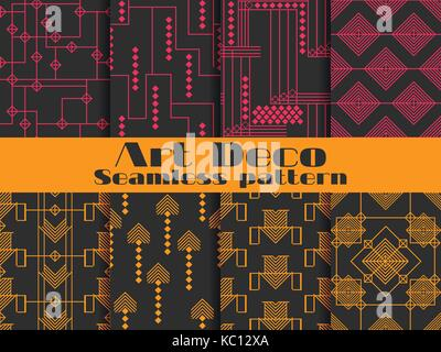 Art deco seamless patterns. Set retro backgrounds. Style 1920's, 1930's. - Stock Photo