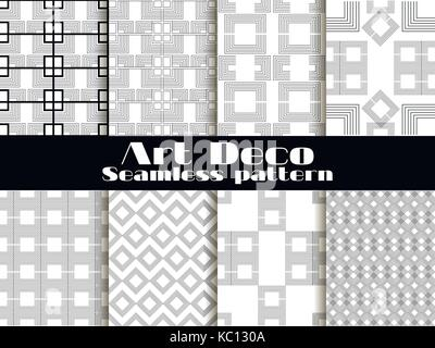 Art deco seamless patterns. Set retro backgrounds. Style 1920's, 1930's. Vector illustration - Stock Photo