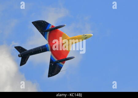Hawker Hunter Mk 58A G-PSST Miss Demeanour in glorious technicolour at the Bournemouth Air Festival, Dorset UK - Stock Photo