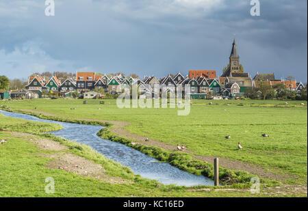 Marken a small village near Amsterdam in The Netherlands - Stock Photo