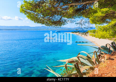 View of famous golden horn beach at Bol on Brac island of Croatia in summertime - Stock Photo