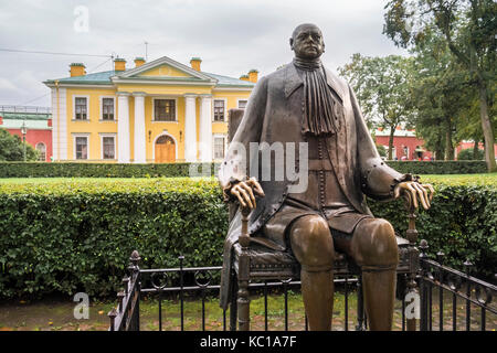 Monument to Peter The Great, in front of the Main Guardhouse building, Peter and Paul Fortress, Zayachy Island, - Stock Photo
