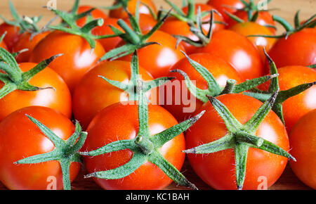 Beautiful background from red and bright tomato with green sheet