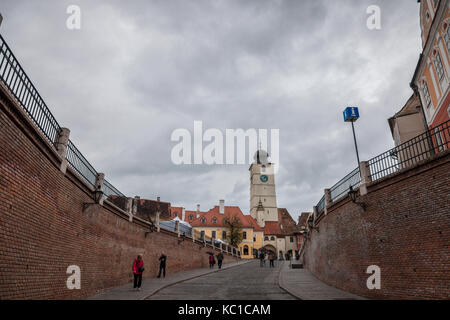 SIBIU, ROMANIA SEPTEMBER 22, 2017: Upper town of Sibiu, in Transylvania, during a cloudy afternoon in a medieval - Stock Photo
