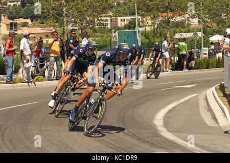 NICE - JULY 2ND : The TOUR 2013  (Tour de France). MOVISTAR Team during Nice/Nice Stage 4 (25 km)... - Stock Photo