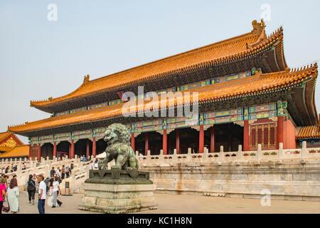Gate of Supreme Harmony in Forbidden City, Beijing, China - Stock Photo
