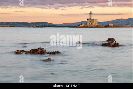 A view of lighthouse in Olbia gulf - Stock Photo