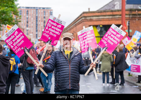 Manchester, UK. 1st October, 2017. An estimated 50,000 protesters marched through Manchester city centre in a demonstration - Stock Photo