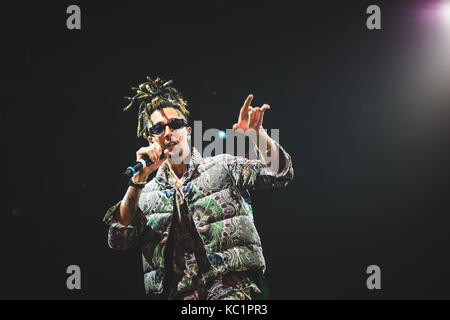 Torino, Italy. 30th Sep, 2017: The italian rapper Ghali performing live on stage at the Officine grandi Riparazioni - Stock Photo