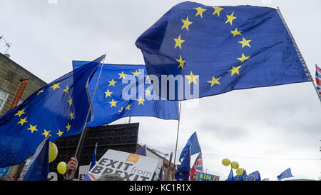 Manchester, UK. 1st October, 2017. Anti-Brexit demonstration in Manchester Credit: James Brooks/Alamy Live News - Stock Photo