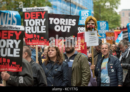 Manchester, UK. 1st October, 2017. The People's Assembly Against Austerity hold a National and week long demonstration - Stock Photo