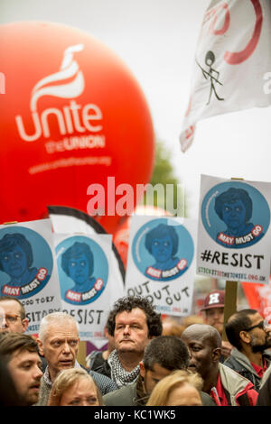 Manchester, UK. 1st october, 2017. Protestors march against Government cuts in anti austerity march held today in - Stock Photo
