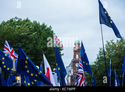 Manchester, UK, 1st October 2017, StopBrexit March during Tory Party Conference, Manchester, UK, credit Jill Jennings/Alamy - Stock Photo