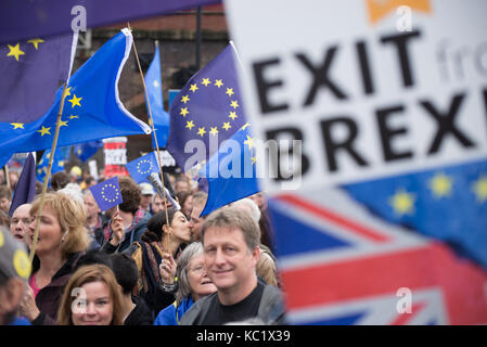 Manchester, UK. 1st October, 2017. People participate in the '#StopBrexit' demonstration in Manchester, United Kingdom, - Stock Photo
