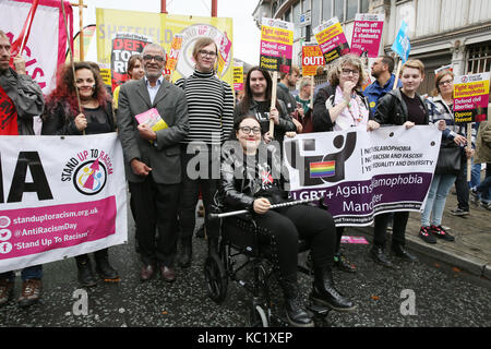 Manchester, UK. 1st October, 2017. LGBT community join protesters in Manchester,1st October, 2017 (C)Barbara Cook/Alamy - Stock Photo