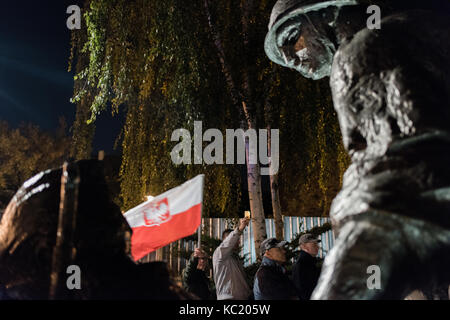 Warsaw, Poland. 01st Oct, 2017. Citizens protest against legislative changes to Poland's judicial system proposed - Stock Photo