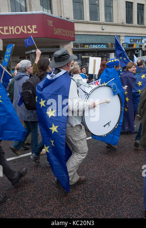 Manchester, UK. 1st October 2017. A large anti Brexit march by thousands of Remain supporters, taking place during - Stock Photo