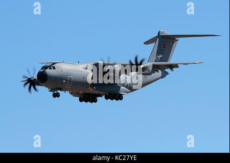 Airbus A400M Atlas heavy military turboprop transport plane of the Turkish Air Force - Stock Photo