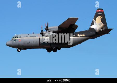 Military aviation. Turkish Air Force Lockheed C-130E Hercules medium tactical airlift aircraft - Stock Photo