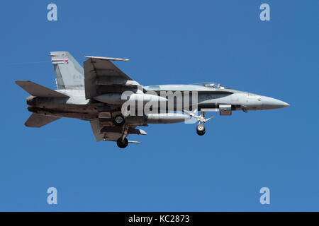 Modern military aviation. Royal Canadian Air Force CF-18 (CF-188) Hornet jet fighter plane on approach - Stock Photo