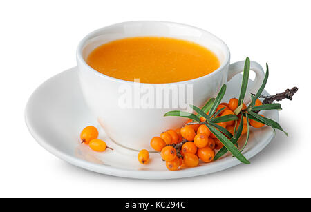 Juice from sea-buckthorn in a cup with berries - Stock Photo