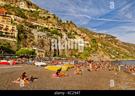 Beach at Positano on the Amalfi Coast in southern Italy. - Stock Photo