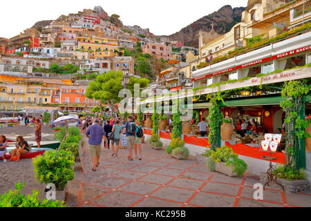 Beach concourse of Positano on the Amalfi coast, Salerno Province, Italy. - Stock Photo