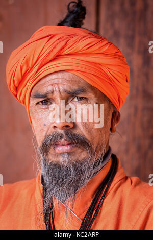 Portrait of an elderly Sadhu, holy man, Pashupatinath, Kathmandu, Nepal - Stock Photo