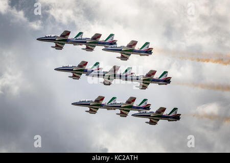 Frecce Tricolori, Aerobatic team of Italian airforce, Sion Airshow, Sion, Valais, Switzerland, - Stock Photo