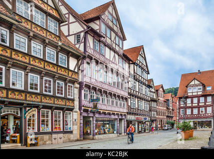 Germany, Lower Saxony, Hann. Münden, medieval half-timbered houses at the market square - Stock Photo
