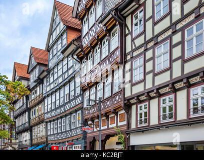 Germany, Lower Saxony, Hann. Münden, medieval half-timbered houses at Lange Strasse - Stock Photo