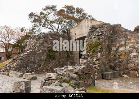 Ruins at Historical Neighborhood (Barrio histórico) in Colonia del Sacramento, Uruguay, South America - Stock Photo