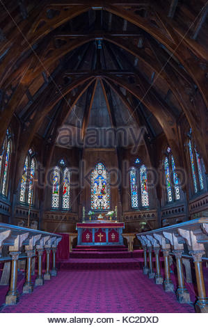 The native timber interior of Old St Paul's Cathedral which dates back to 1866 (consecration), Wellington, New Zealand. - Stock Photo