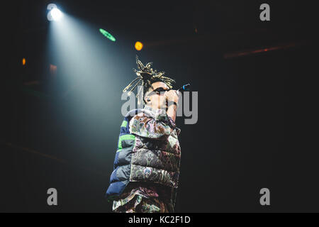 Torino, Italy. 30th Sep, 2017. The Italian rapper Ghali performing live on stage at the Officine grandi Riparazioni. - Stock Photo