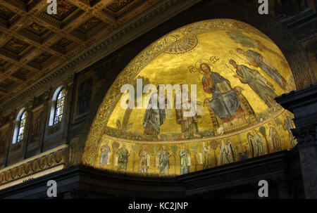 Italy. Rome. Basilica of Saint Paul Outside the Walls. Apse mosaic (1200) by Venetian artists. Christ in flanked - Stock Photo