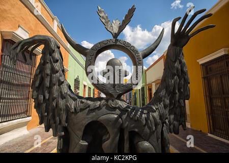April 21, 2014 Campeche, Mexico: illustrative editorial of a Leonora Cerrington statue on the street of the UNESCO - Stock Photo
