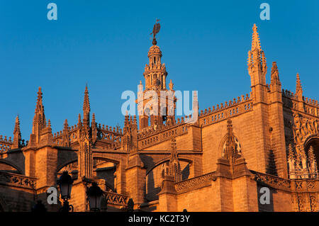 Cathedral and Giralda tower, Seville, Region of Andalusia, Spain, Europe - Stock Photo
