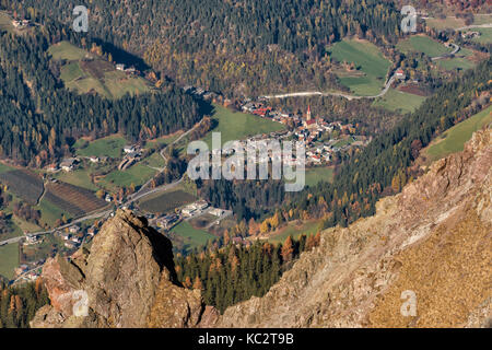 Italy, Trentino Alto Adige, Non valley, view from Luco mountain, San Pancrazio is a traditional village of South - Stock Photo