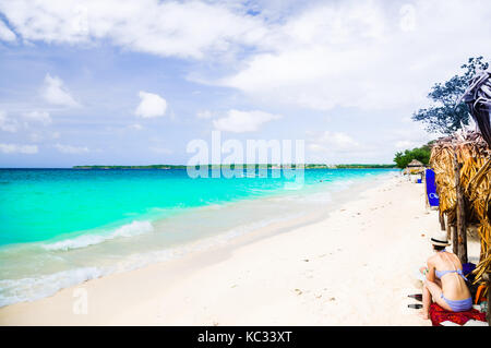 View on paradies beach of Playa Blanca on Island Baru by Cartagena in Colombia - Stock Photo