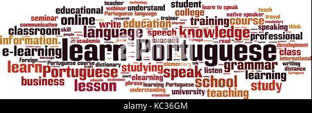 Learn Portuguese word cloud concept. Vector illustration - Stock Photo