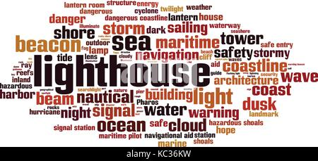 Lighthouse word cloud concept. Vector illustration - Stock Photo