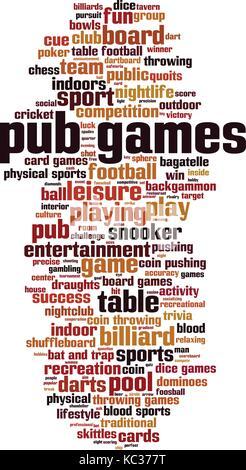 Pub games word cloud concept. Vector illustration - Stock Photo
