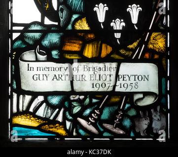 Stained glass window detail, St. Bartholomew`s Church, Greens Norton, Northamptonshire, England, UK - Stock Photo