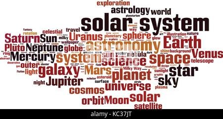 Solar system word cloud concept. Vector illustration - Stock Photo
