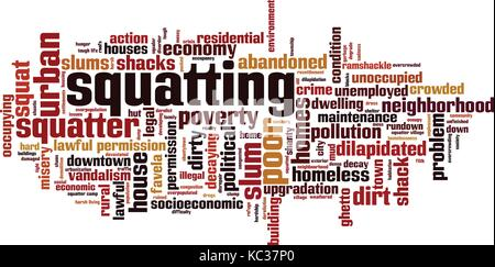 Squatting word cloud concept. Vector illustration - Stock Photo